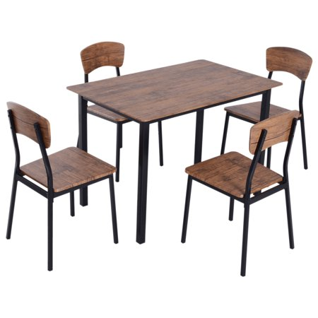 HOMCOM 5 Piece Rustic Industrial Style Counter Height Dining Table and Chairs Set Metal Wood Home Kitchen Furniture ()
