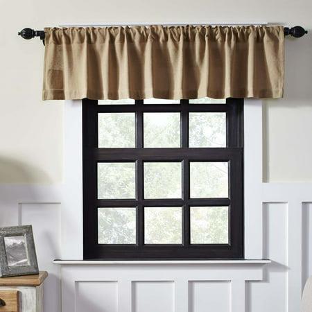 - Natural Tan Farmhouse Kitchen Curtains Burlap Chocolate Rod Pocket Cotton Cotton Burlap Solid Color 16x72 Valance