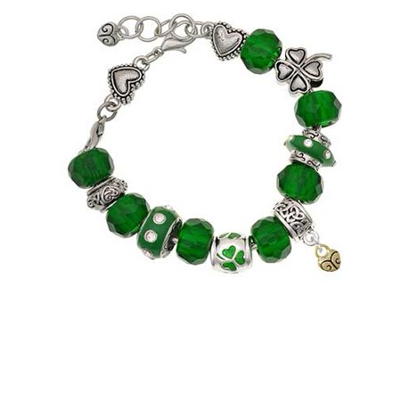 Goldtone Mini Scroll Heart Green St. Patrick's Day Bead Bracelet (Diy Scroll)