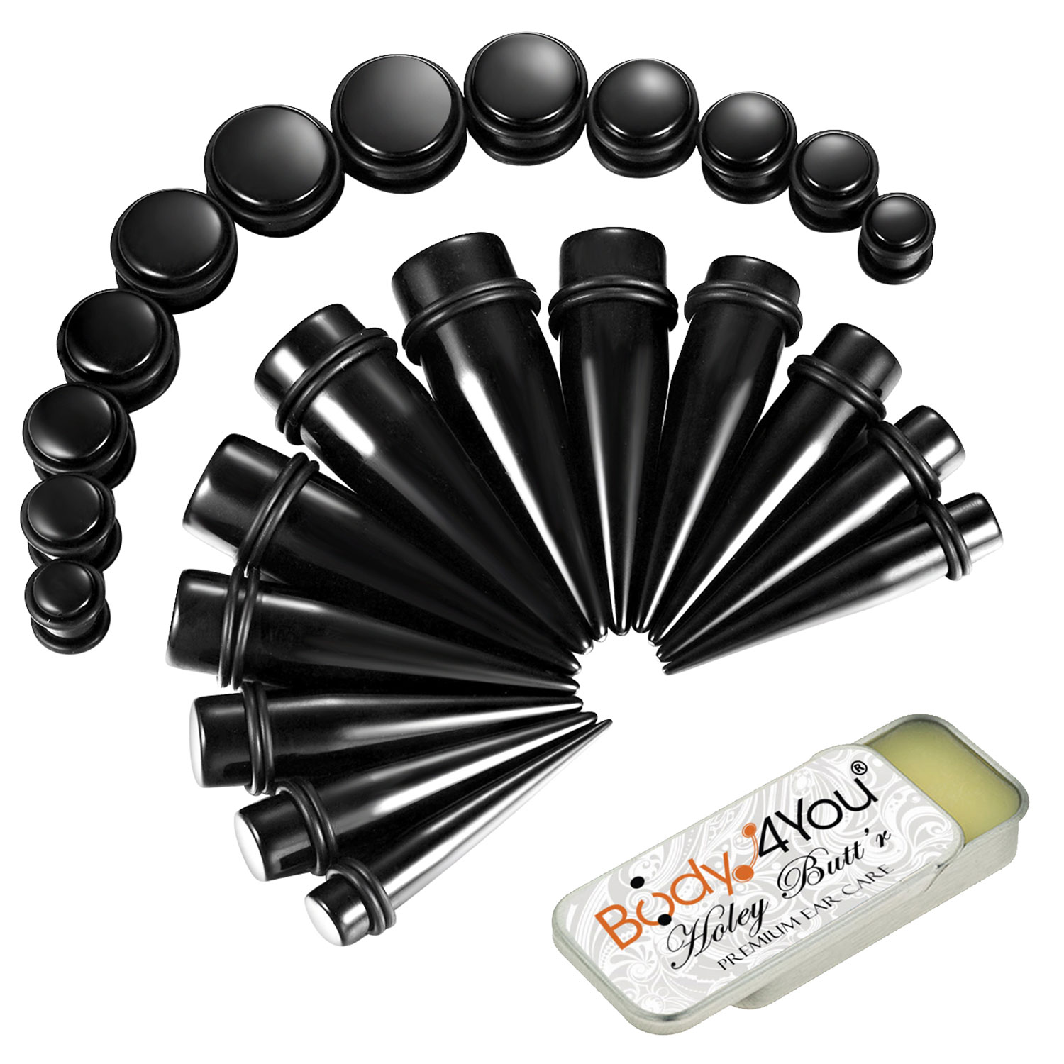 BodyJ4You 25PC Big Gauges Kit Ear Stretching Aftercare Balm 00G-20mm Black Acrylic Tapers Plugs