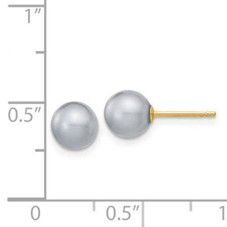 14K Yellow Gold 6-7mm Grey Round FW Cultured Pearl Stud Earrings - image 1 de 2