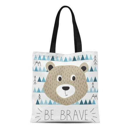 HATIART Canvas Tote Bag Blue Pattern Cute Bear Be Brave Motivation Slogan Wild Reusable Shoulder Grocery Shopping Bags Handbag - image 1 de 1