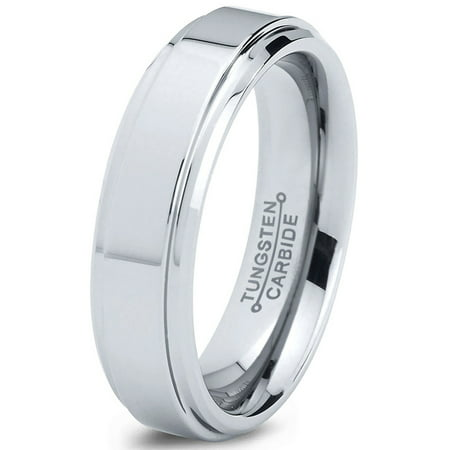 - Tungsten Wedding Band Ring 6mm for Men Women Comfort Fit Step Beveled Edge Polished Lifetime Guarantee