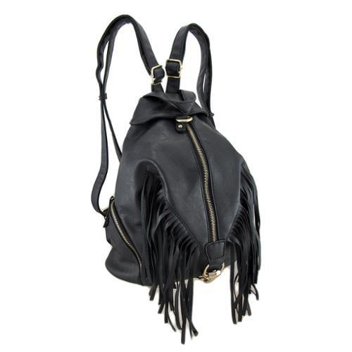 Fringed Black Textured Vinyl Zippered Backpack Purse