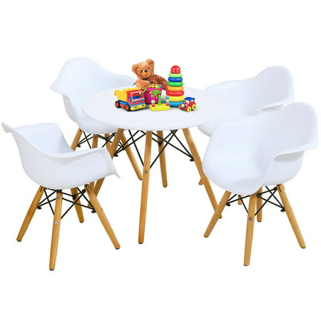 Gymax 5 PC Kids Round Table Chair Set with 4 Arm Chairs