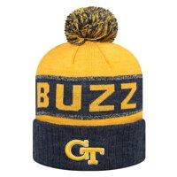 Georgia Tech Yellow Jackets Top of the World Below Zero Cuffed Knit Hat with Pom - Navy/Gold - OSFA