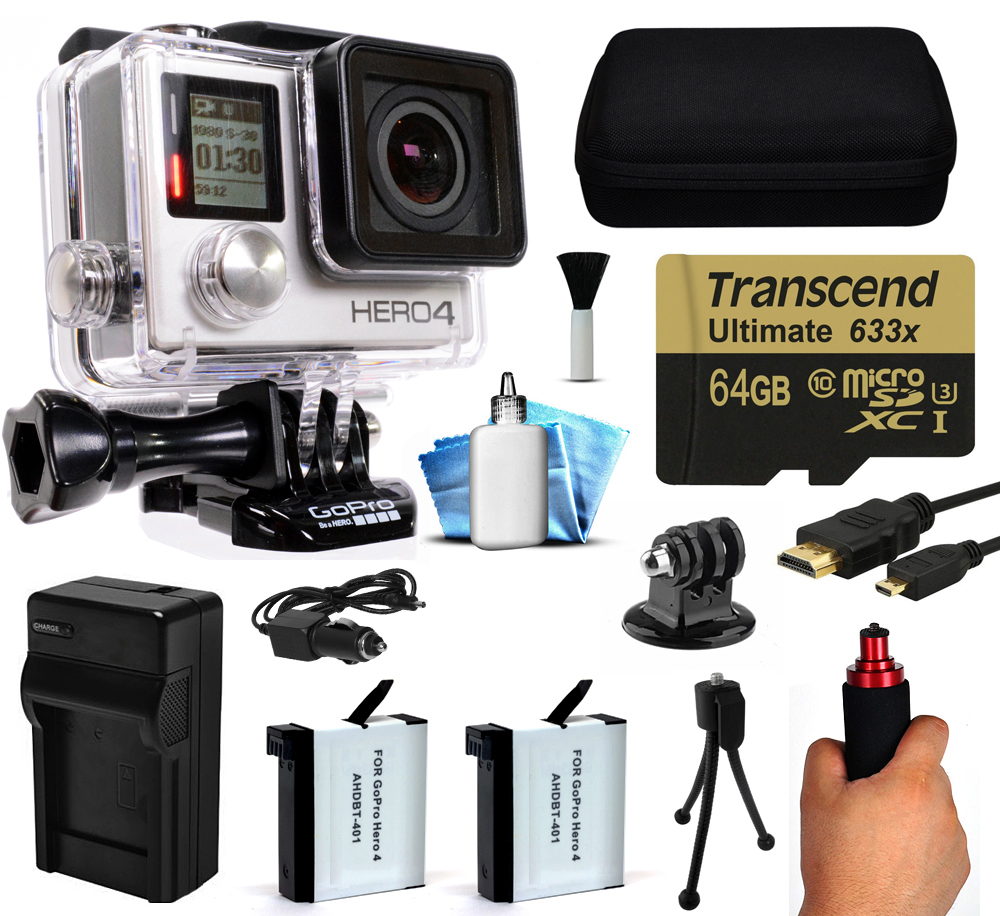 GoPro Hero 4 HERO4 Black Edition 4K Action Camera Camcorder with 64GB Starter Accessory Kit with MicroSD Card, Hand Grip, 2x Batteries, Home and Car Charger, Medium Case, HDMI, Cleaning Kit