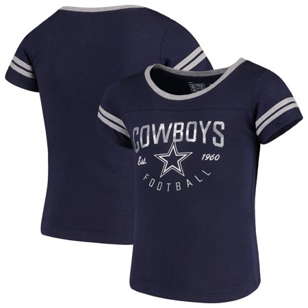 Dallas Cowboys NFL Pro Line by Fanatics Branded Girls Youth Live For It 2-Stripe T-Shirt - Navy