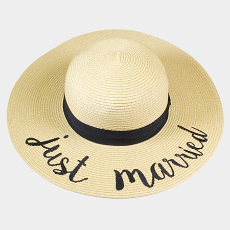 Amtal Women Elegant Wide Brim Embroidered Beach Pool Floppy Summer Vacation Sun