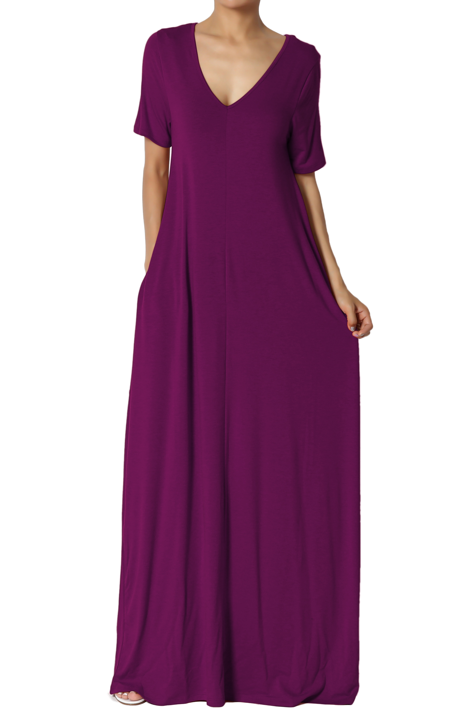 TheMogan Women's S~3X Soft Jersey Oversized V-Neck Short Sleeve Maxi Dress W Pocket