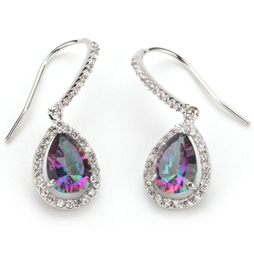 925 Sterling Silver Cubic Zirconia Rainbow Drop Earrings - image 2 of 2