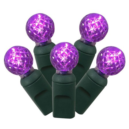 4 sets of 50 purple led faceted g12 berry christmas lights green wire