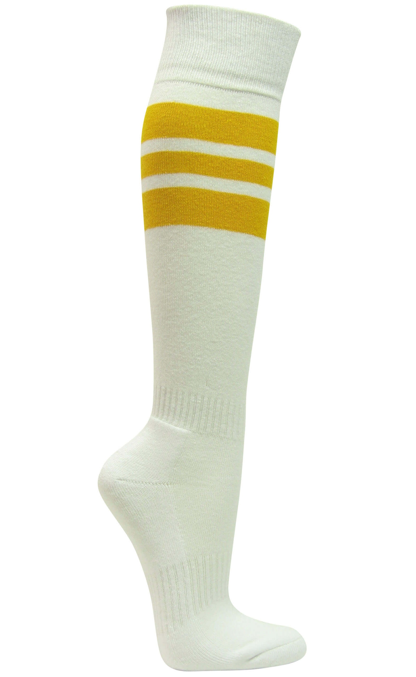 06926166f Couver Premium Quality White Triple Stripe Baseball Softball Athletic Tube  Knee High Socks