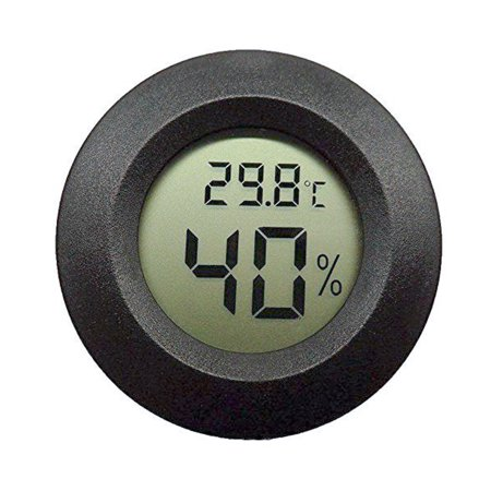 TSV New LCD Round Digital Thermometer Hygrometer Temperature Humidity Meter Black