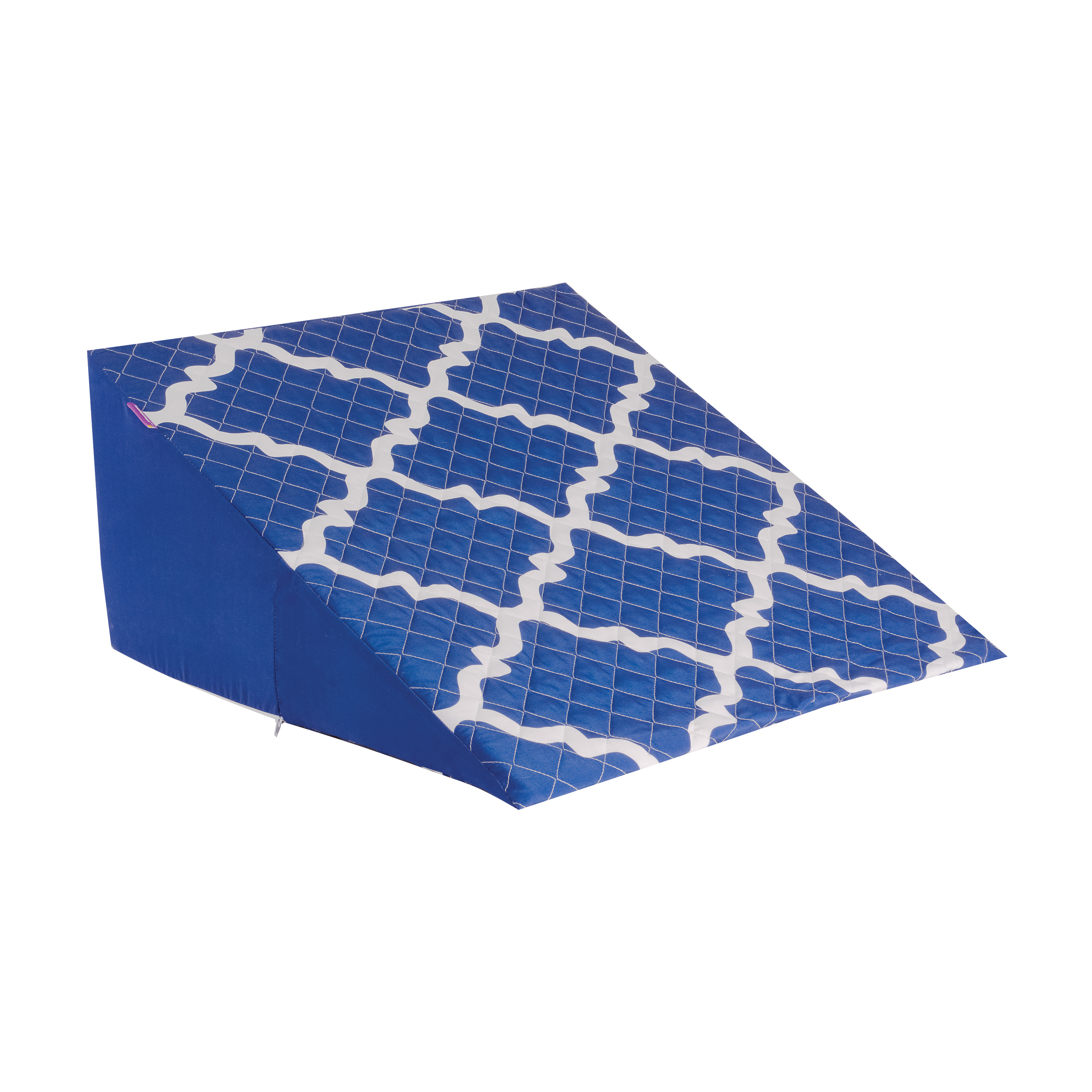 HealthSmart Premium Foam Bed Wedge Pillow with Stylish, Spill-Resistant Cover, Blue Moroccan, 12 x 24 x 24 Inches