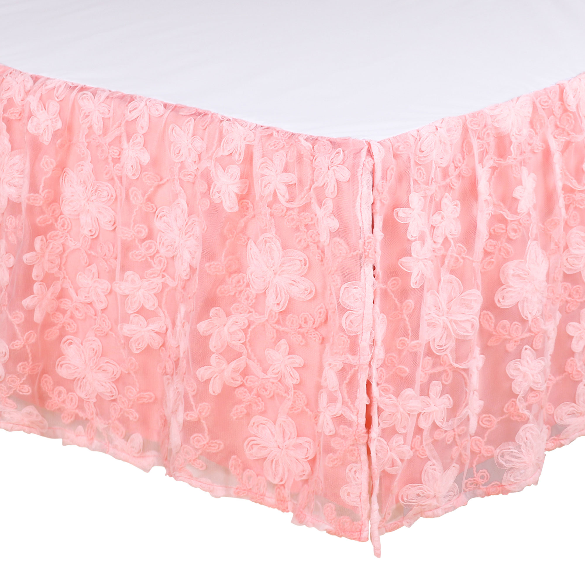 Audrey Coral Floral Crib Dust Ruffle by The Peanut Shell