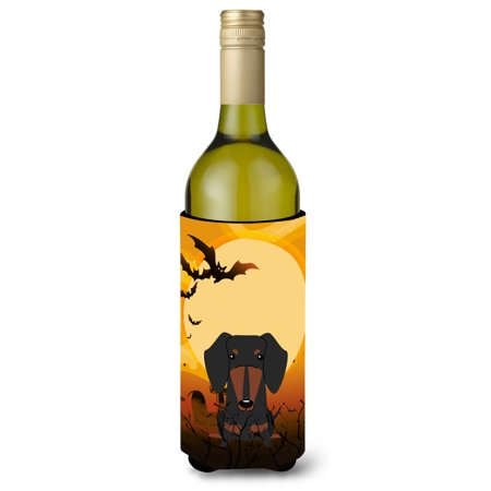 Halloween Dachshund Black Tan Wine Bottle Beverge Insulator Hugger BB4398LITERK - Dachshund Halloween