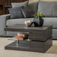 Noble House Maynard Rectangular Mod Coffee Table with Glass