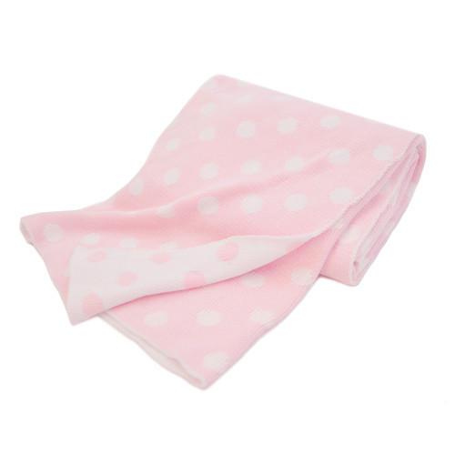 American Baby Company 100% Cotton Sweater Knit Blanket, Pink Dot(Base UPC 0065617333090) by