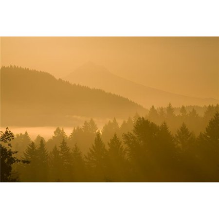Mount Hood Oregon USA - Silhouetted Landscape At Sunrise Poster Print, Large - 40 x 26 - image 1 de 1