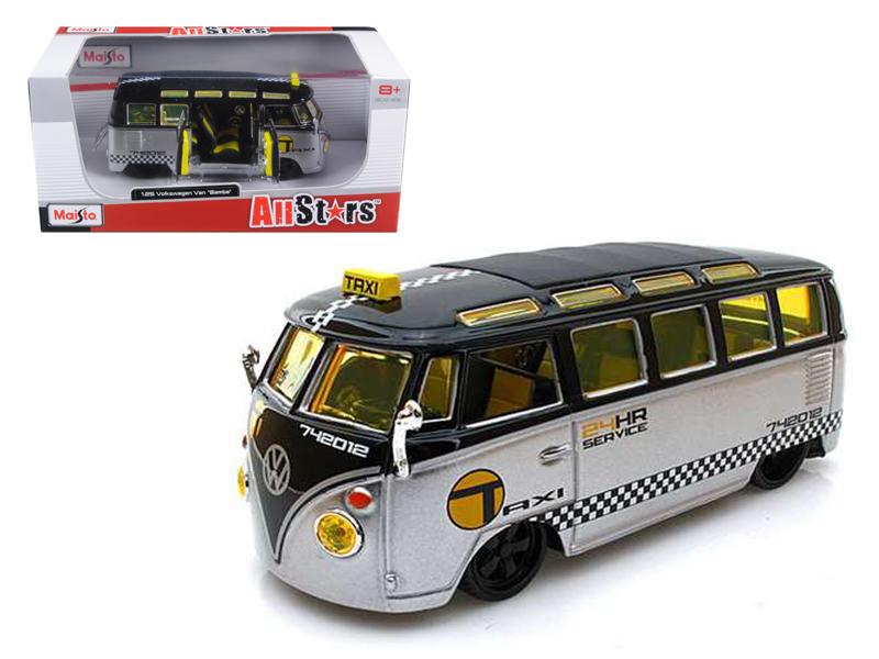 Volkswagen Samba Van Bus Taxi Silver Black 1 25 Diecast Model Car by Maisto by Diecast Dropshipper