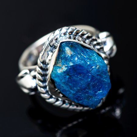 Rough Apatite Ring Size 6 (925 Sterling Silver)  - Handmade Boho Vintage Jewelry RING941083