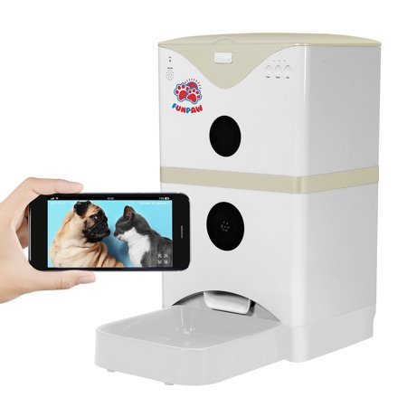 Funpaw 6L Automatic Pet Feeder For Cats Dogs  Scheduled Feeding  Monitoring   2 Way Chats W  App  Mic  Speaker   Camera  Grey