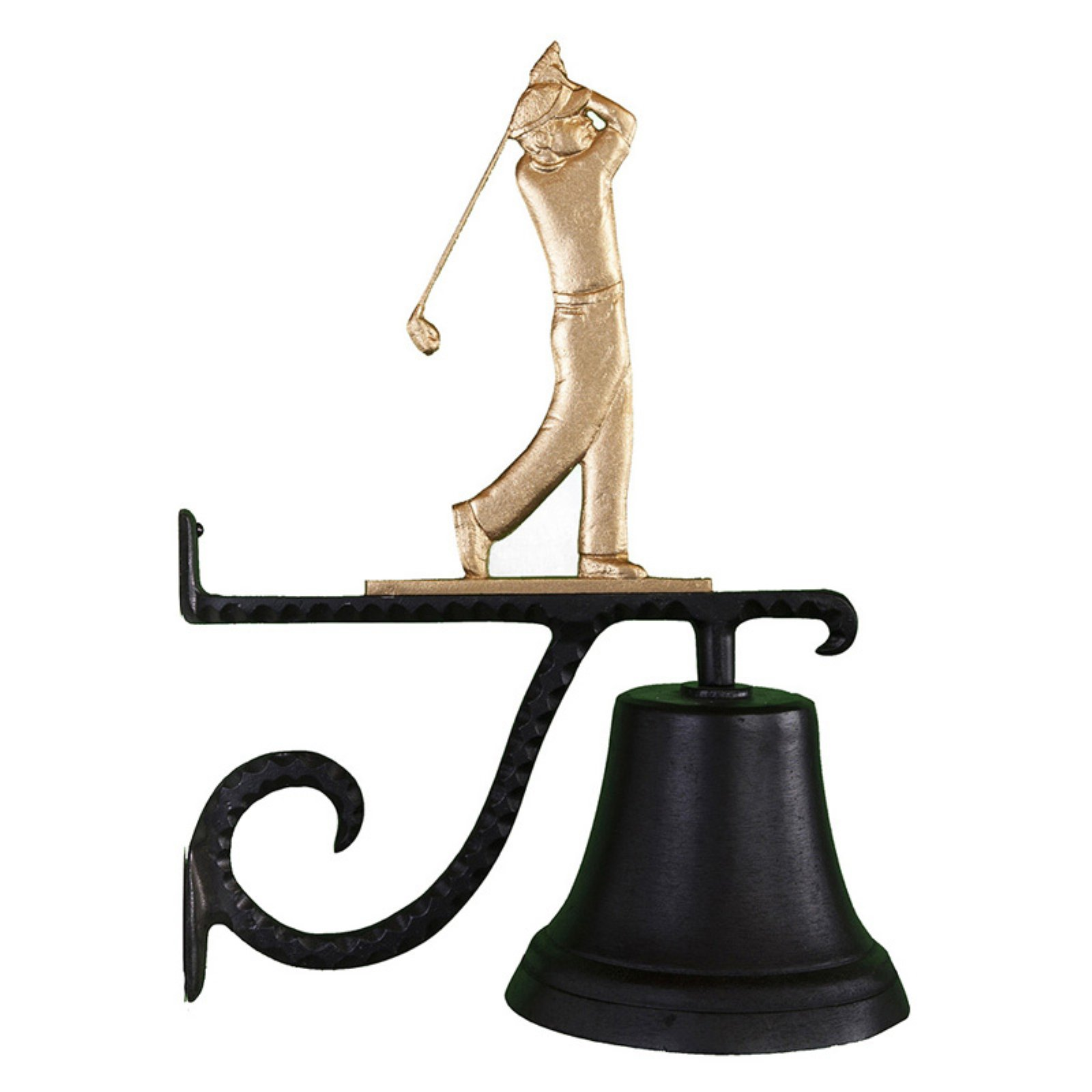 Cast Bell with Gold Golfer Ornament