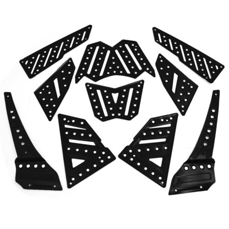 Unique Bargains Black Anti-slip Surface Front Foot Pedals Footboard 10 in 1 for Yamaha