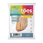 ZenToes 6 Pack Gel Toe Cap and Protector - Cushions and Protects to Provide Relief from Missing or Ingrown Toenails, Corns, Blisters, Hammer Toes (Large, Beige)