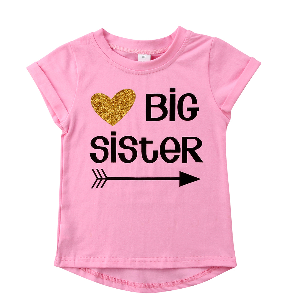 BG/_ Baby Kids Girl Little Big Sister Matching Clothes Romper Outfits T Shirt