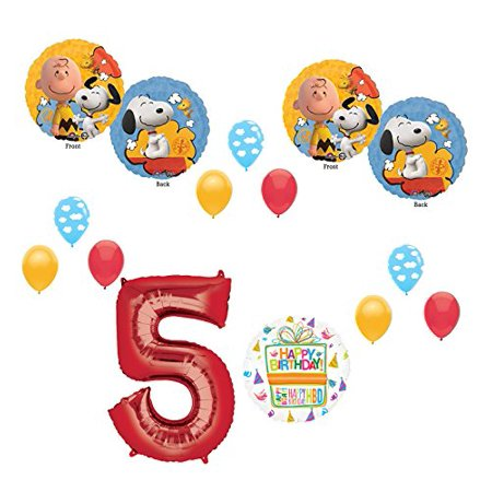 Charlie brown and Snoopy Peanuts 5th Birthday Party Supplies and Balloon Bouquet Decorations