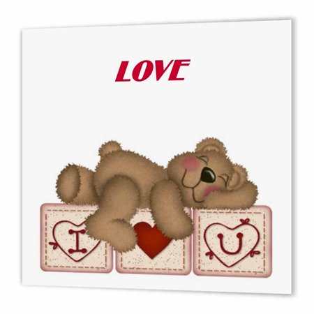 3Drose Adorable Teddy Bear On I Luv U Blocks  Iron On Heat Transfer  6 By 6 Inch  For White Material