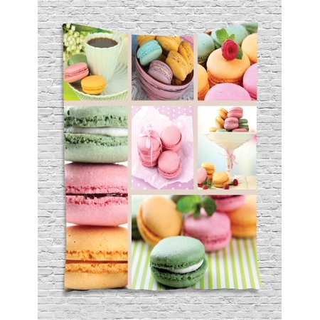 French Themed (Colorful Tapestry, Traditional French Desert Macaroons Themed Collage with Coffee Gourmet Sweet Print, Wall Hanging for Bedroom Living Room Dorm Decor, Multicolor, by)
