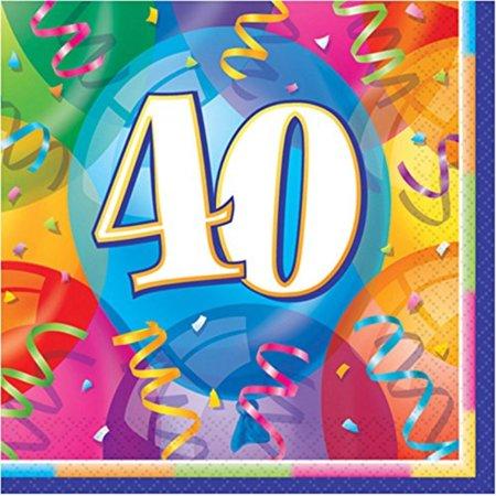 Brilliant 40th Birthday Party Napkins, - 40th Napkins