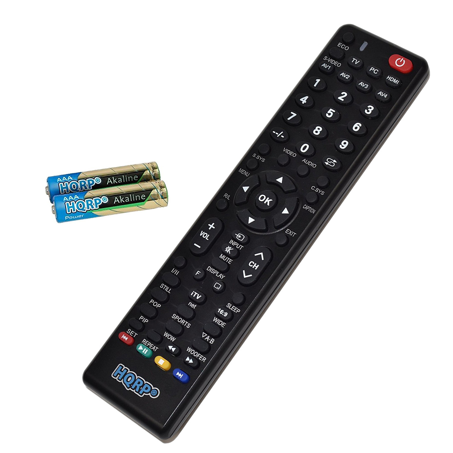HQRP Remote Control for Sanyo DP47840, DP50740, DP50741, DP50747 LCD LED HD TV Smart 1080p 3D Ultra 4K + HQRP Coaster