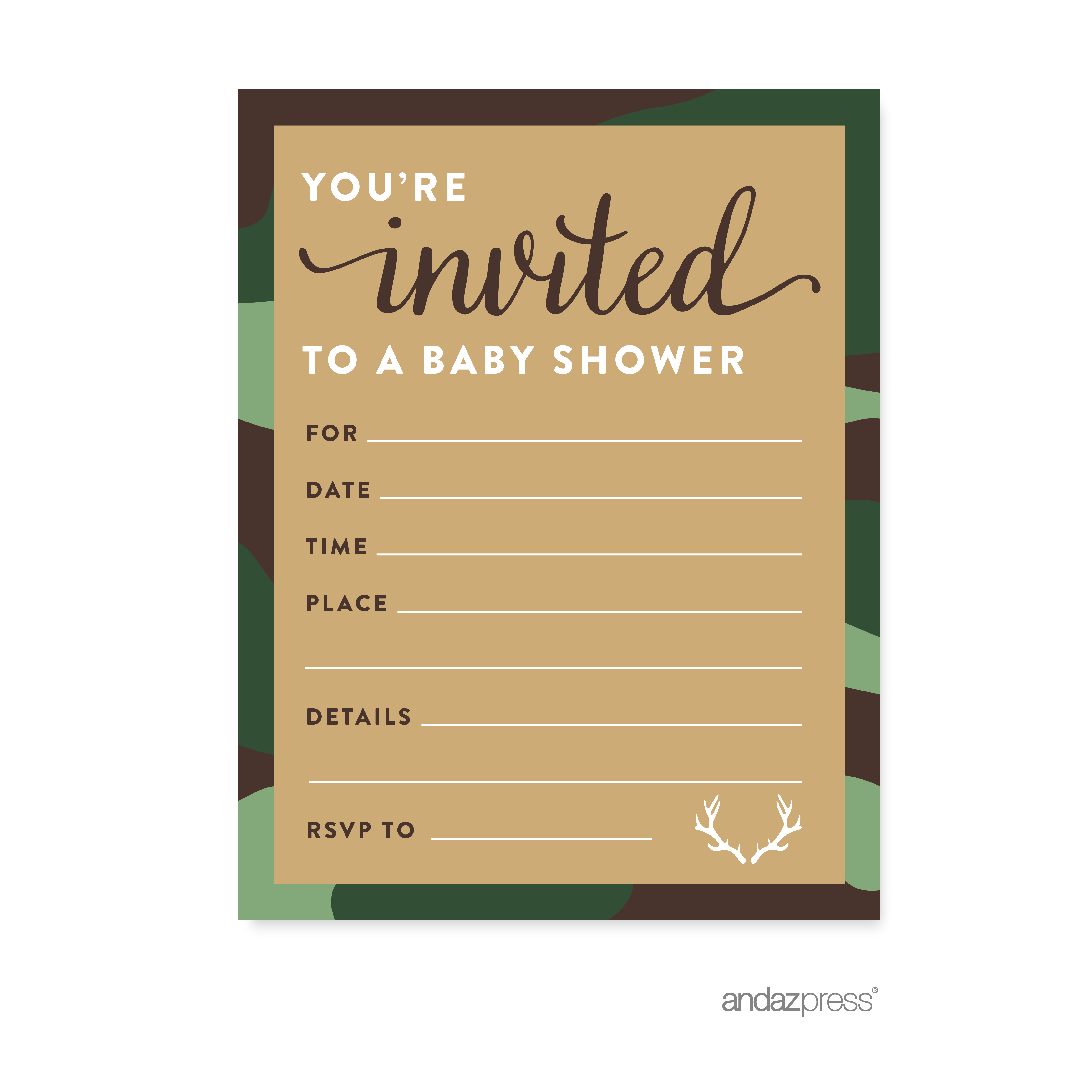 Woodland Camouflage Boy Baby Shower Blank Invitations, 20-Pack