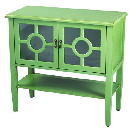 Heather Ann Creations Hampton Lattice Glass Console Cabinet ()
