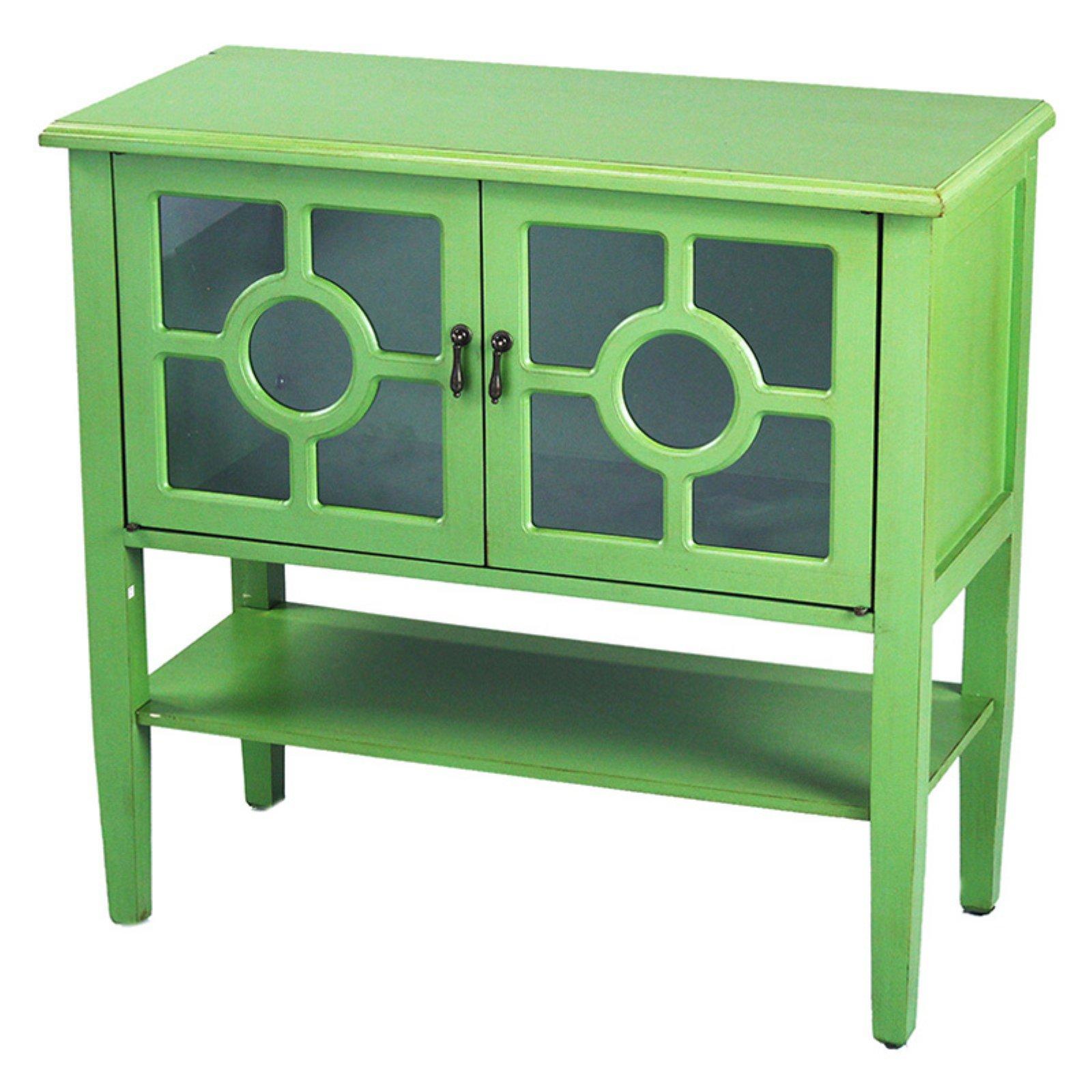 Heather Ann Creations Hampton Lattice Glass Console Cabinet