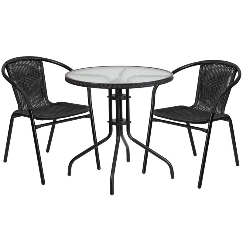 Bowery Hill 2 Piece Round Patio Dining Set in Black