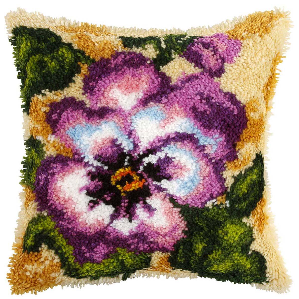 Violets Pillow Latch Hook Kit
