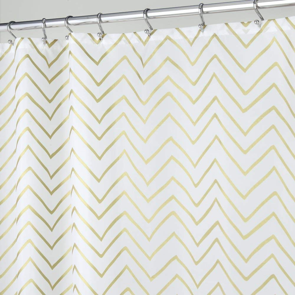 mDesign Sketched Decorative V Pattern Fabric Shower Curtain Stall 54 x 78 Gold