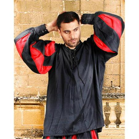 The Pirate Dressing C1060 European Medieval Shirt, Black & Red - - Vinyl Top Dressing