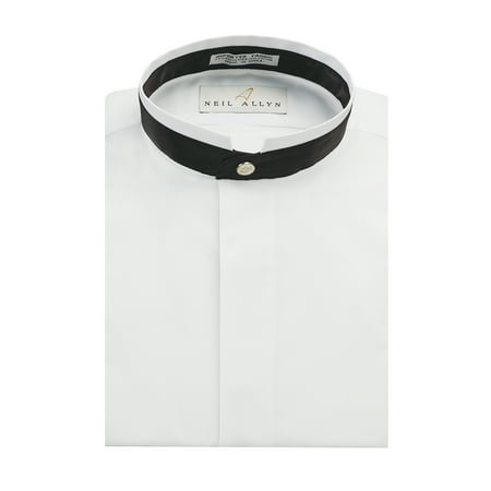 Neil Allyn Men's Banded Collar With Black Trim Dress Shirt-S-32-33