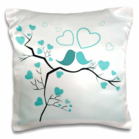 3dRose Two Kissing Love Birds and Hearts In Turquoise, Pillow Case, 16 by (Kissing Hearts)