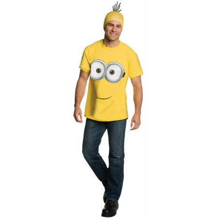 Minions Movie Minion Shirt and Headpiece Men's Adult Halloween Costume (20s Headpiece)