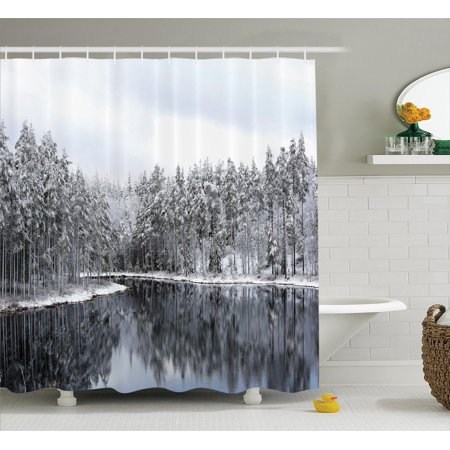 Woodland Decor Lake Surrounded By Snow Covered Trees On A Cold Winter Day In Finland Reflections Bathroom Accessories 69w X 84l Inches Extra Long