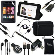 """Fire HD 6 Case and Accessories - DigitalsOnDemand ® 12-Item Accessory Kit for Amazon Kindle Fire HD 6"""" 4th Generation - Leather Case, Sleeve Cover, Screen Protector, Stylus Pen, USB Cables + Chargers"""