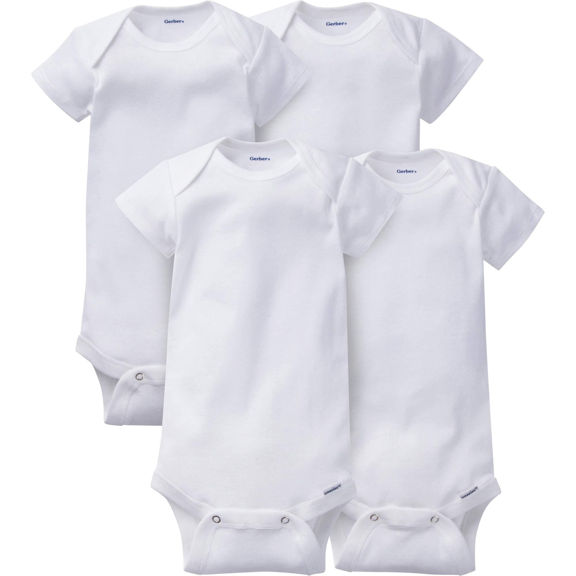 Newborn Baby Onesies Brand Organic Short Sleeve Bodysuits, 4-pack