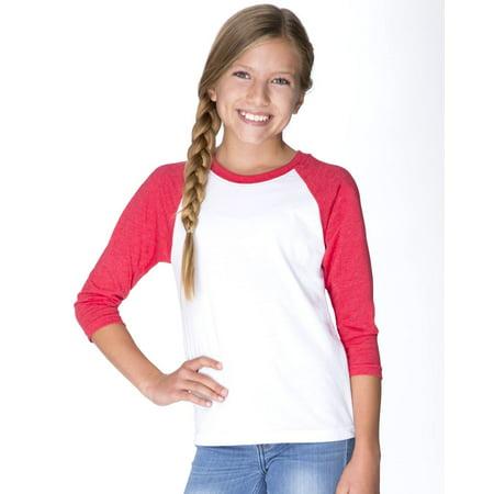Youth Level (Next Level T-Shirts Youth CVC Three-Quarter Sleeve Raglan T-Shirt)